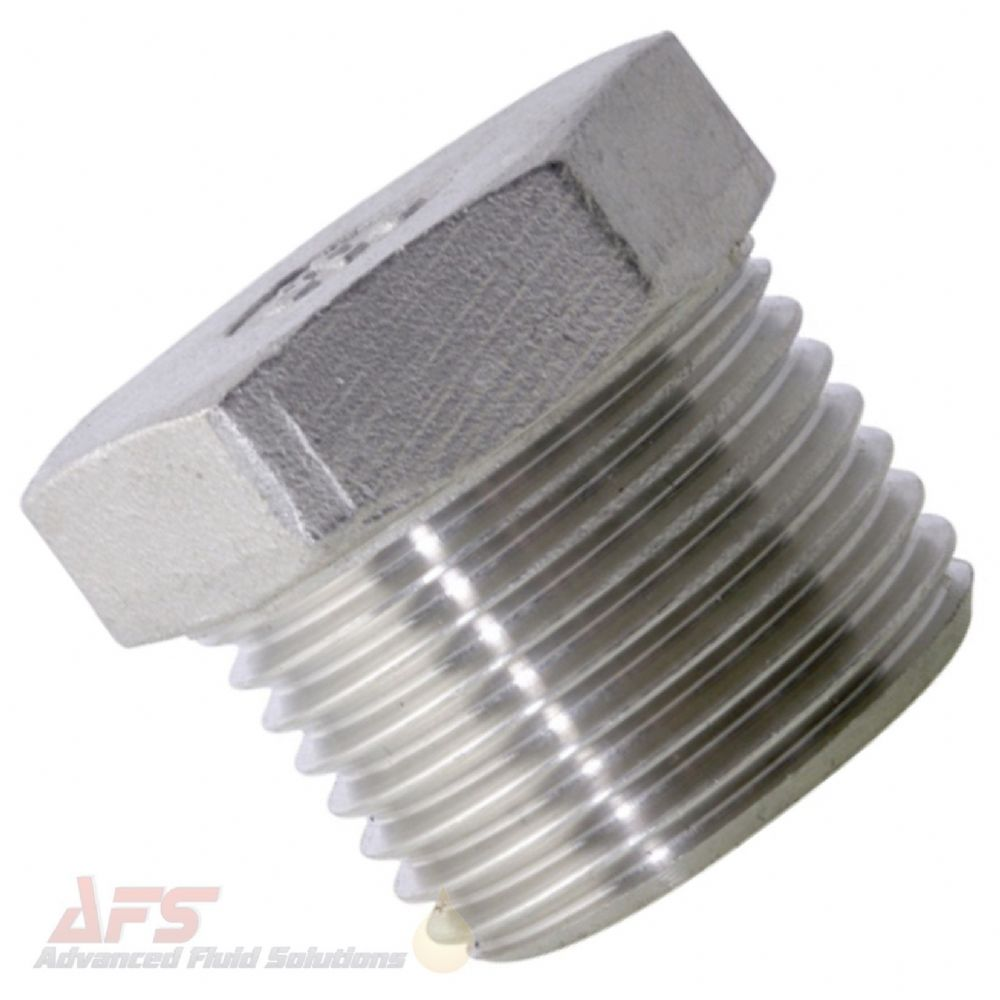 1/2 BSPT Hex Blanking Plug - SS 316 Stainless Steel